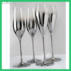 New Gloss Silver finish metal champagne flutes Crystal for wedding/party red wine glass of brandy goblet glasses taza de vidrio Gallon Mason Jars, Flautas, Crystal Wine Glasses, Pearl And Lace, Drink Dispenser, Champagne Flutes, Crystal Rhinestone, Red Wine, Shot Glass
