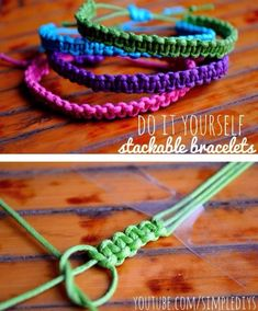 Learn how to make stackable square knot/cobra stitch bracelets. Pin now, watch later! Learn how to make stackable square knot/cobra stitch bracelets. Pin now, watch later! Square Knot Bracelets, Bracelets Diy, Bracelet Knots, Stackable Bracelets, Macrame Bracelets, Diy Bracelets With String, Knotted Bracelet, How To Make Braclets, Anklet Bracelet