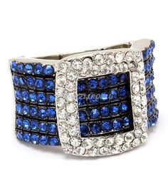 SILVER STRETCH BAND RING BELT BUCKLE DESIGN ROYAL BLUE CLEAR CRYSTALS FASHION #PARISCOLLECTION #Statement