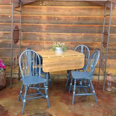 Rustic Farmhouse style dining set chalk painted in Superior Paint Co. Midnight Hours by The Nest located in Bonners Ferry Idaho Bonners Ferry Idaho, Rustic Farmhouse, Farmhouse Style, Dining Set, Dining Chairs, Painting Cabinets, Chalk Paint, Diy Furniture, Nest