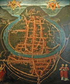 Old map of Besancon by Ivan Pik, via Flickr Ancient Maps, Antique Maps, Vintage World Maps, Templer, Merian, Map Globe, Fantasy Map, Wall Maps, Map Design