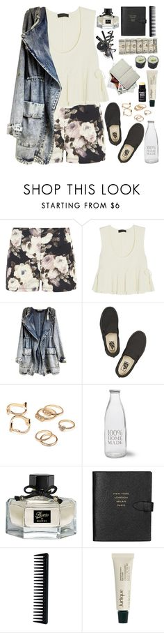 """2102. Nothing"" by chocolatepumma ❤ liked on Polyvore featuring Dorothy Perkins, Calvin Klein Collection, Vans, Forever 21, Garden Trading, Gucci, Smythson, GHD, Jurlique and blackandwhite"