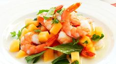 This refreshing salad of prawn and rockmelon is lightly drizzled in a lime and mint dressing. Cooking For A Crowd, Cooking Tips, Cooking Recipes, Coles Recipe, Prawn Salad, Prawn Cocktail, Dessert For Dinner, Dessert Ideas, Easy Delicious Recipes