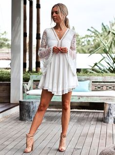 White Lace Homecoming Dresses, V-neck Party Dress, Party Dress Lace, Party Dress Chiffon, V-Neck Homecoming Dresses Short Homecoming Dresses Beautiful Party Dresses, Cute Dresses For Party, Lace Party Dresses, Trendy Dresses, Sexy Dresses, Nice Dresses, Short Dresses, Dress Party, Bare Back Dress