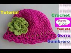 """Crochet Gorro Sombrero """"Aída"""" Niños (Parte 1) EspañoI y English por Maricita Colours - YouTube"""
