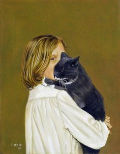 Girl With Cat, by Robert Tracy. -- Photo by *Irina, 2014.