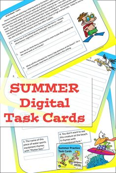 Summer themed reading and language arts task cards on Google slides for review and practice on students tablets or laptops, set of 30 cards for grades 4, 5, 6, and 7. Close Reading Activities, Fun Classroom Activities, Reading Resources, Reading Skills, Writing Skills, Teaching Reading, End Of School Year, Middle School, School Reviews
