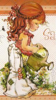 ilclanmariapia: Holly Hobbie , Sarah Kay e le bimbe Sunbonnet Sue Holly Hobbie, Garden Illustration, Cute Illustration, Vintage Cards, Vintage Postcards, Sara Key Imagenes, Papier Kind, Sara Kay, Sunbonnet Sue