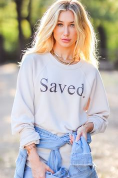 Saved Unisex Sweatshirt – The Light Blonde Light Blonde, Christian Clothing, Black Print, Order Prints, Vintage Looks, Graphic Sweatshirt, Pullover, Unisex, Sweatshirts