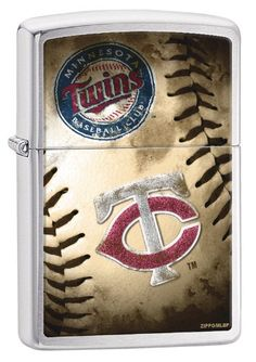"""Zippo MLB Minnesota Twins Brushed Chrome Lighter. Genuine Zippo windproof lighter with distinctive Zippo """"click"""". All metal construction; windproof design works virtually anywhere. Refillable for a lifetime of use; for optimum performance of every Zippo lighter we recommend genuine Zippo premium lighter fluid, flints and wicks. Made in USA; lifetime guarantee that """"it works or we fix it free"""". Fuel: Zippo premium lighter fluid (sold separately)."""