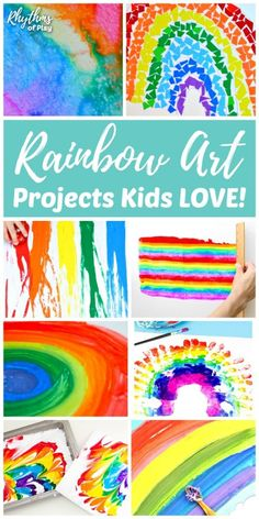 Rainbow art projects, rainbow painting ideas and rainbow crafts for toddlers, preschoolers, and kids of all ages. Make some rainbow art and crafts with your children to help brighten your day! Rainbow Painting, Rainbow Art, Colors Of The Rainbow, Kids Rainbow, Craft Projects For Kids, Arts And Crafts Projects, Craft Ideas, Fun Ideas, Kids Crafts