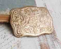 Vintage Cowboy BELT BUCKLE Country Western Rodeo Crumrine Big Silver