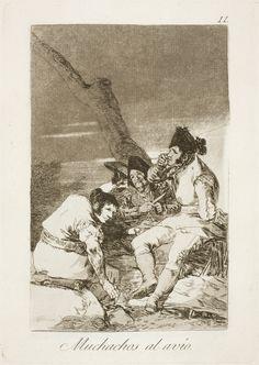 """Francisco de Goya: """"Muchachos al avío"""". Serie """"Los caprichos"""" [11]. Etching, aquatint and burin on paper, 215 x 152 mm , 1797-99. Museo Nacional del Prado, Madrid, Spain"""