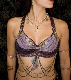 KHLORIS - Flowers and Copper Purple Tribal Fusion Costume Bra - Spring fairy queen tribal dance bra