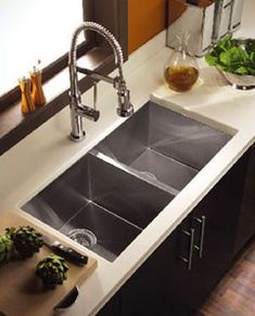 I would love an industrial deep sink... and that faucet Modern Kitchen Sinks, Double Bowl Kitchen Sink, Farmhouse Sink Kitchen, Kitchen Sink Faucets, Modern Farmhouse Kitchens, Kitchen Redo, New Kitchen, Home Kitchens, Modern Sink