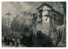 David Roberts : Grenade , Carrera Del Daro , en haut l'Alhambra