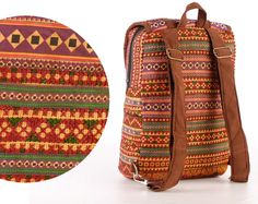 Small Backpack, School Bag, Teen backpack, Festival Backpack, Orange, Traditional, Vintage, Ethnic, Hand Stitched, Gypsy, Boho, Tribal, Hippie