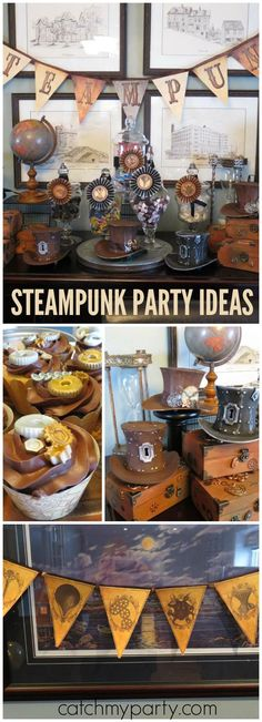 Steampunk fan? You need to check out this amazing party! See more party ideas at Catchmyparty.com!