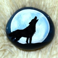 Wolf - Hand painted Wolf rock - Painted Rocks - Howling Wolf painted Rock - Howling Wolf Full Moon - Painted Wolf Rock - Hand Painted Wolf