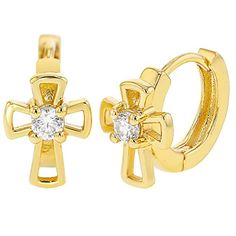 7175ffebc In Season Jewelry 18k Gold Plated Clear Crystal Small Hoop Huggie Cross Girls  Earrings 0.31