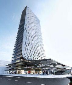 Delugan Meissl Associated Architects. Image courtesy of Porsche Design Tower Frankfurt.