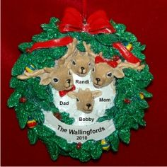 Reindeer Wreath for 4 - New Baby Family Christmas Ornament