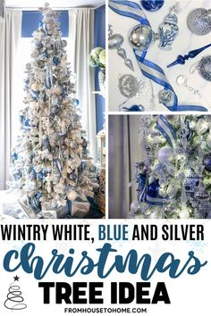 I love this wintry white, blue and silver Christmas tree decor! Lots of ideas for beautiful, glam Christmas decorations made with ribbon and crystal ornaments.