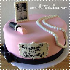 Marilyn Monroe Cake - Pink - Pearls - Lipstick - Bow - Fondant - Single Tier  www.butterinlove.com