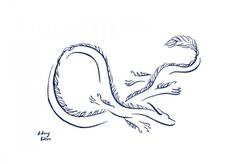 Minimalist tattoo of Luckdragon from The Neverending Story, drawn by Sidney Eileen