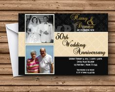 50th Wedding Anniversary Party Invitations  4x6 or 5x7 Flat Card Photos Printed on the Invitation Printed 4-Color Process on One side Printed on 110lb gloss cover stock Bright White Envelopes Are Included