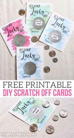 It's Your Lucky Day! Free Diy Scratch Off Cards - The Crazy with Scratch Off Card Templates - Sample Business Template Scratch Off Tickets, Scratch Off Cards, Diy And Crafts, Crafts For Kids, Presents For Boyfriend, Diy Crafts For Boyfriend, Boyfriend Ideas, Up Book, Lucky Day