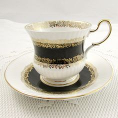 """Vintage Tea Cup and Saucer, """"Marquis"""" Black with Gold Chintz, Queen& Teacup, Fine Bone China Cute Tea Cups, Antique Tea Cups, Chocolate Coffee, Marquis, Tea Cup Saucer, Vintage Tea, Teacups, Caffeine, Bone China"""