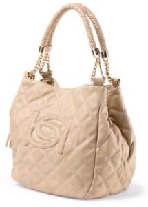 BEBE Brigitte Faux Leather Taupe Tassel Quilted Tote Bag Purse | eBay