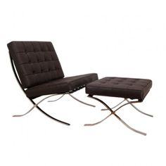 Mies van der Rohe Inspired Barcelona Armchair & Ottoman - Brown