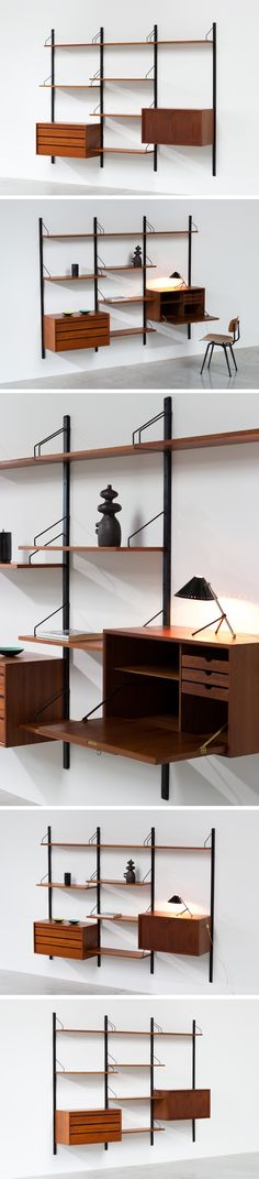 Teak Wall Unit - Poul Cadovius with desk - Royal System Large