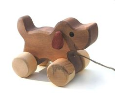 Pull Along Toys - Dog - Handmade