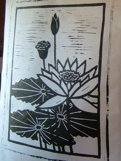 Lotus Flower - Block Print - Flower, Leaves, Pod, and Bud - Hand Printed. $78.00, via Etsy.