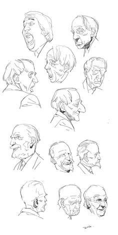 old man face Drawing Cartoon Faces, Cartoon Art Styles, Character Drawing, Character Illustration, Animation Character, Character Sketches, Art Reference Poses, Drawing Reference, Human Face Sketch