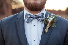 Grey with plaid accents...great for a winter wedding.