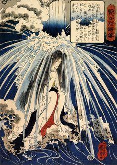 Utagawa Kuniyoshi - Hatsuhana Doing Penance Under The Tonosawa Waterfall 1841-1842