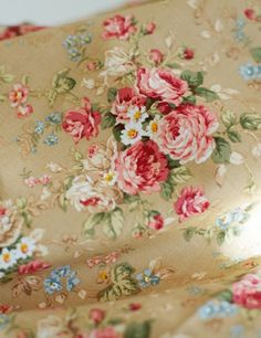 Floral fabric that would look great with my bedroom carpet and wall color. (The tan background).