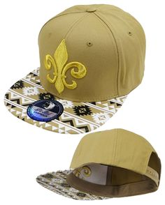 New Orleans Saints Snapback Tan and Gold Hat Fleur De Lis Baseball Cap NFL Football Team Aztec Style