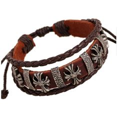 Metal Celtic Cross on Multi Strand Brown Leather Bracelet (Adjustable) - Timeless Treasures - Free gift bag included with order