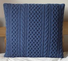 Wool & Mohair Hand Knitted Cabled Cushion Cover Danube