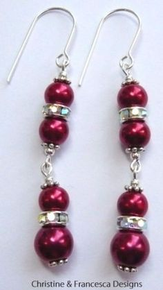 Wonderful colour ♥ .925 Sterling Silver DARK RED Glass Pearl & CRYSTAL AB Rondelle Bridal Long Drop Earrings + Gift Box & Organza Gift Bag ~ by Christine & Francesca Designs