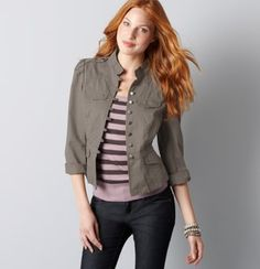 LOVE this jacket. It also comes in Navy which I just bought from Ann Taylor