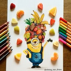 Shining_star_draws on Instagram: Minion with real fruit!  Hope you like it!  Pencils: Stabilo Trio and Stabilo point 88.