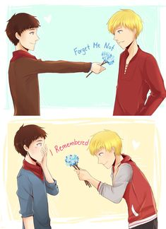merthur forget-me-not by OrangeMouse.deviantart.com on @DeviantArt okay, so i literally DIED when i saw this it's just too cute