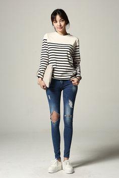 Open Knee Cut Skinny Jean
