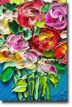 ORIGINAL Oil Painting Roses Art Palette knife Impasto by bsasik                                                                                                                                                     More